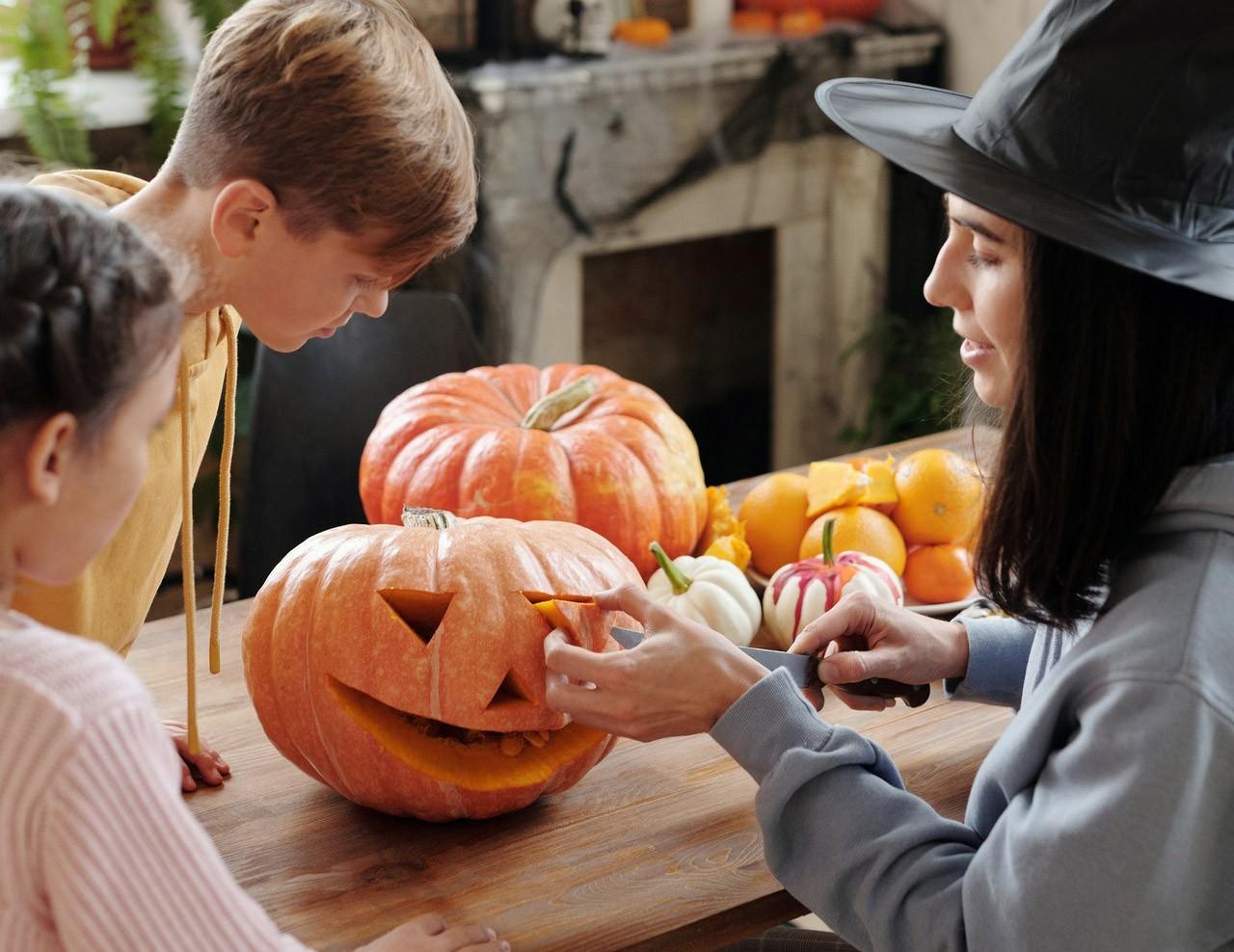 Children Carving a Pumpkin